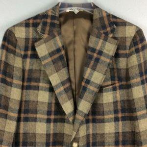 Other - Mens Brown Plaid Wool 3 Button Blazer Sz 40